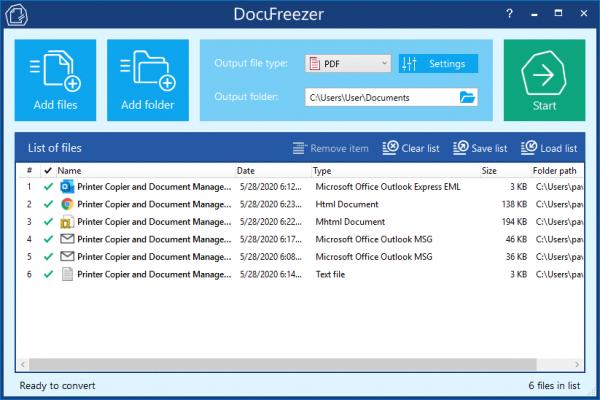 Konwersja wsadowa Outlook EML lub MSG z DocuFreezer