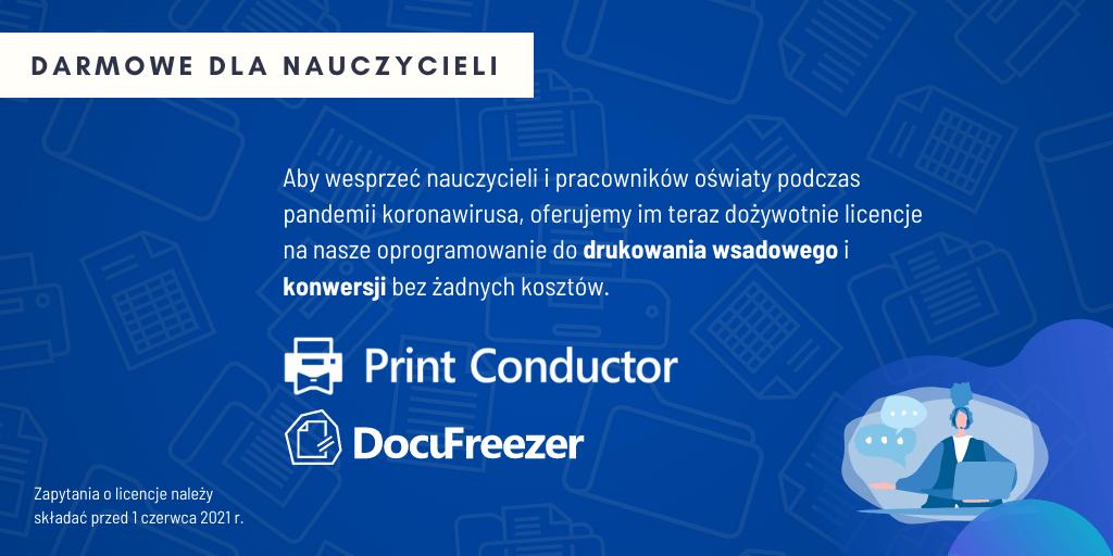 DocuFreezer i Print Conductor – Darmowe Licencje dla Szkół i Nauczycieli