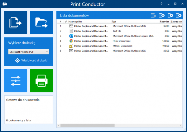 Zapisuj wiele e-maili za pomocą Print Conductor